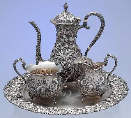 Replacements, Ltd. Search: kirk stieff silver stieff rose (sterling, 1892, hlwr) TS4M-5 KISSTR2 silver tea set