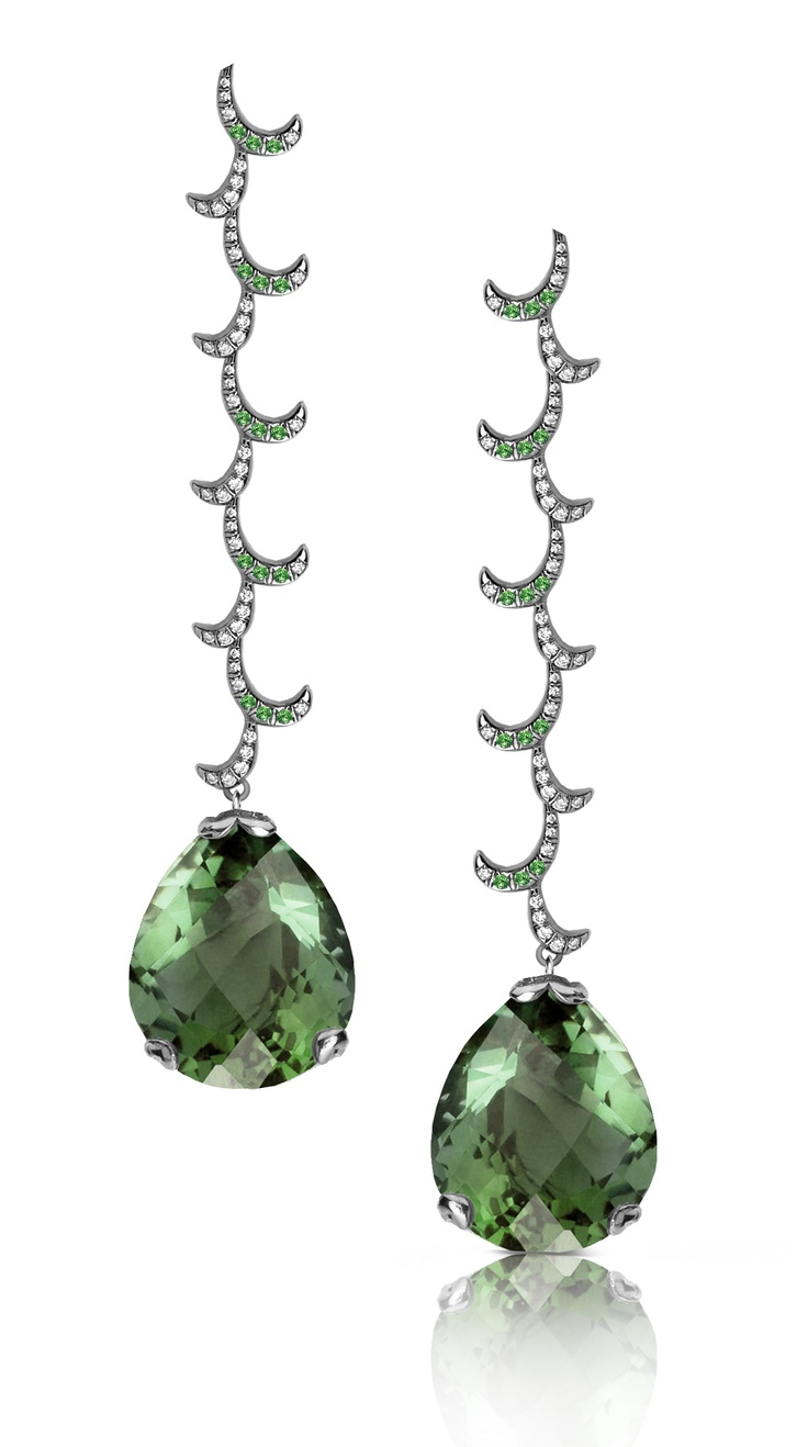 Fei Liu Whispering Large Drop Earrings: 18K Black Gold Set with 2x14ct Green Amethyst, 0.5ct Green Garnet and 0.8ct Diamond