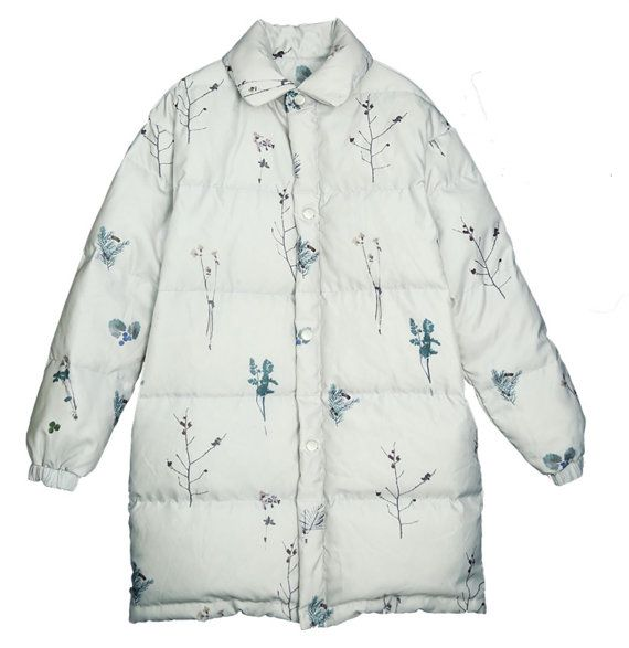 Fine Art Collection two sides to wear white hand painting floral plant/pink princess winter Down Garments warm jacket super light