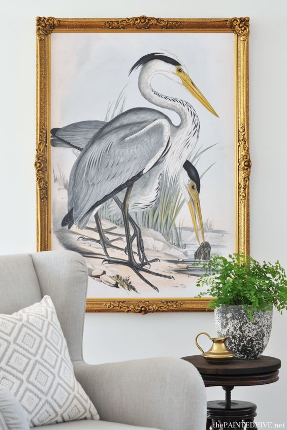 The Painted Hive | Over-Sized Heron Art | Huge High Resolution Free Printable!