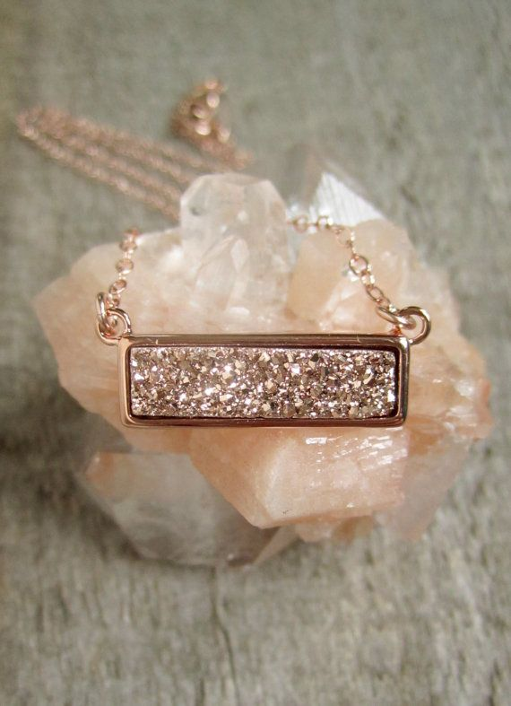 Druzy Necklace, Rose Gold Druzy Necklace, Druzy Bar Necklace, Titanium Druzy Quartz Necklace, Druzy Jewelry
