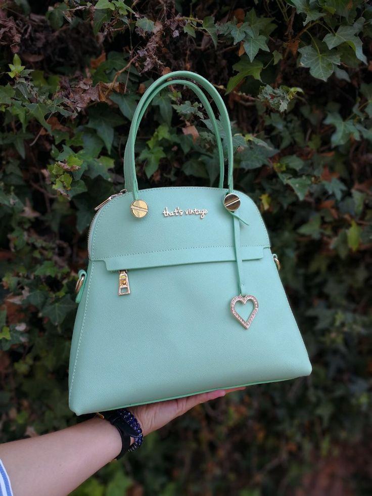 Green saffiano handbag