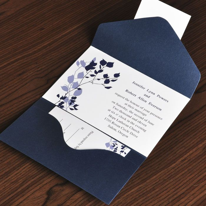 Country Rustic Style Fl And Navy Blue Pocket Inexpensive Wedding Invitation Ewpi017