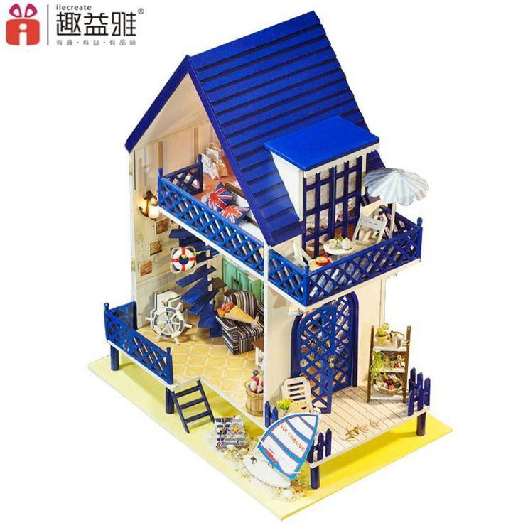Home Decoration Crafts DIY Doll House large Wooden Dolls House 3D Miniature Model Kit  dollhouse Furniture Room LED Light 130-16