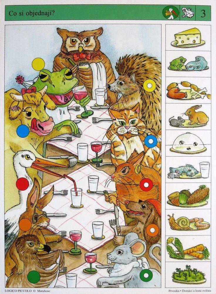 Soubor Logico Piccolo - Prvouka Domácí a lesní zvířata  Soubor obsahuje 16 hracích karet, vždy s 10 úkoly. Karta se zasune do  rámečku a barevné knoflíky se přisouvají ke správné