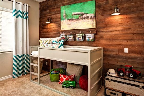 Modern Big Kid Room with Customized IKEA KURA Bed and Wood Accent Wall: Toddlers Rooms, Big Boys, Boys Rooms, Bunk Bed, Rooms Ideas, Loft Beds, Wood Wall, Kids Rooms, Accent Wall