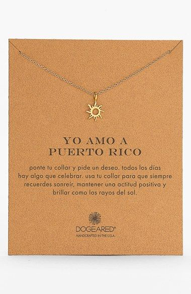 Free shipping and returns on Dogeared 'Yo Amo A Puerto Rico' Boxed Sun Pendant Necklace at Nordstrom.com. A tiny sunburst pendant strung on a delicate chain symbolizes great love for Puerto Rico.