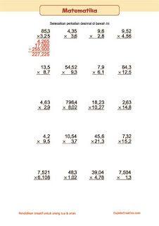belajar perkalian matematika untuk anak kelas 5 SD, perkalian bilangan desimal