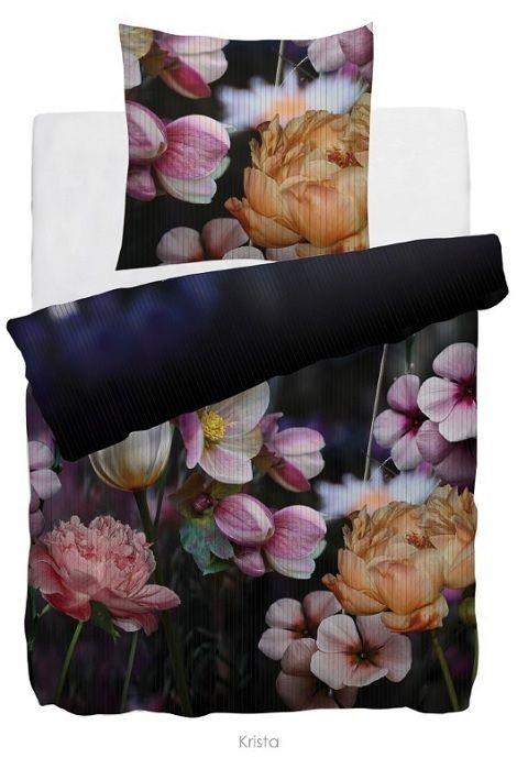 HNL Refined,Krista dekbedovertrek katoensatijn, paars,rood,geel,wit,bloemen    Mooie dekbedovertrekken bij  Slaapkenner Theo Bot  Dorpsstraat 162  1689 GG Zwaag