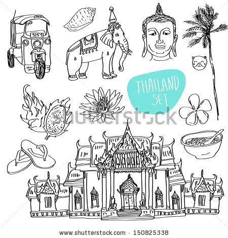 Illustration of vector set of Thailand with temple, buddha, elephant, traditional food and flower isolated - stock vector