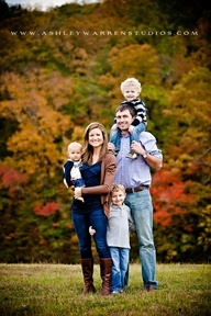 Cute family photo.  And the background colors are amazing!