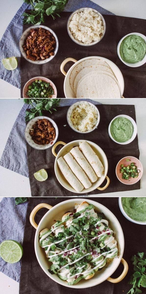 Vegan Taquitos with beef, rice, avocado cream, cilantro and lime.