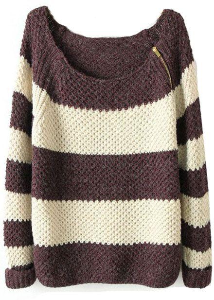 Coffee White Striped Long Sleeve Zipper Sweater