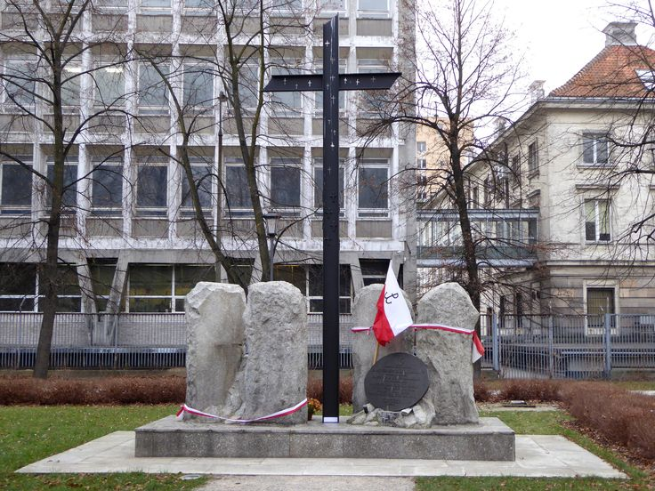 """Warsaw Uprising monument in Krasińskich garden. It is dedicated to the Chrobry I battalion of the Armia Krajowa, who defended the area around the Warsaw Arsenal during the Warsaw Uprising. It is located at the site of """"Simon's Passage"""" (""""Pasaż Simonsa"""") - a pre-war shopping mall in Warsaw that was destroyed by German bombing during the uprising...."""