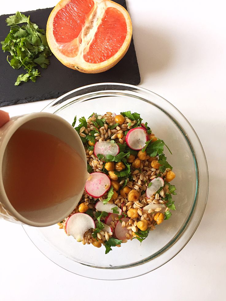 This unique grapefruit grain salad combines farro with fresh radishes and cilantro, as well as grapefruit-roasted chickpeas and a grapefruit vinaigrette!