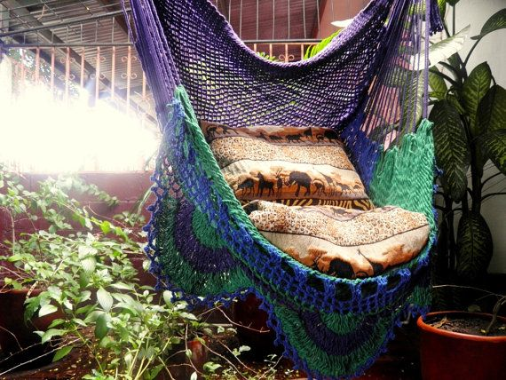 Tricolor Sitting Hammock Hanging Chair Natural Cotton by hamanica, $44.00