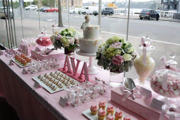 vintage lace and rose christening dessert table