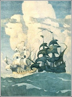 N. C. Wyeth  The 4 mural paintings in  The First National Bank of Boston  Each painting measures 12 x 15 Feet