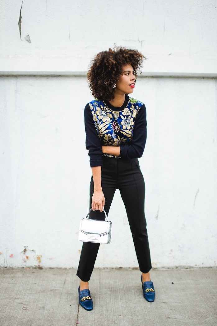 Navy golden print sweater+black pants+blue loafers+silver handbag+statement earings. Christmas Event/ Party/ Lunch Outfit 2017-2018