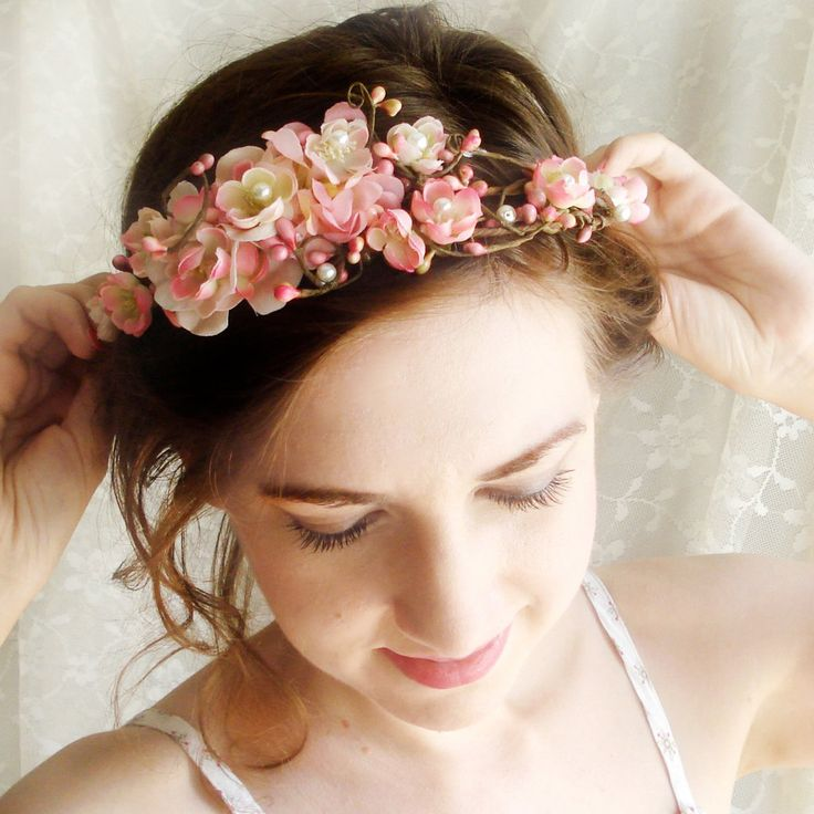 pink cherry blossom flower crown  LOVE SONNET  by thehoneycomb, $60.00