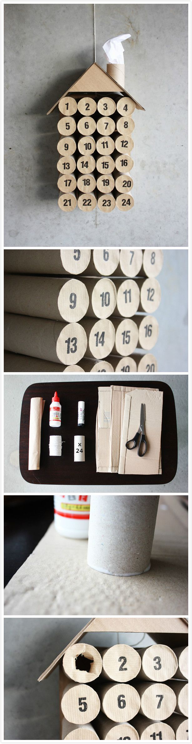 10 Christmas crafts projects made out of toilet paper rolls in diy cardboard  with toilet paper roll DIY Craft Christmas advent calendar