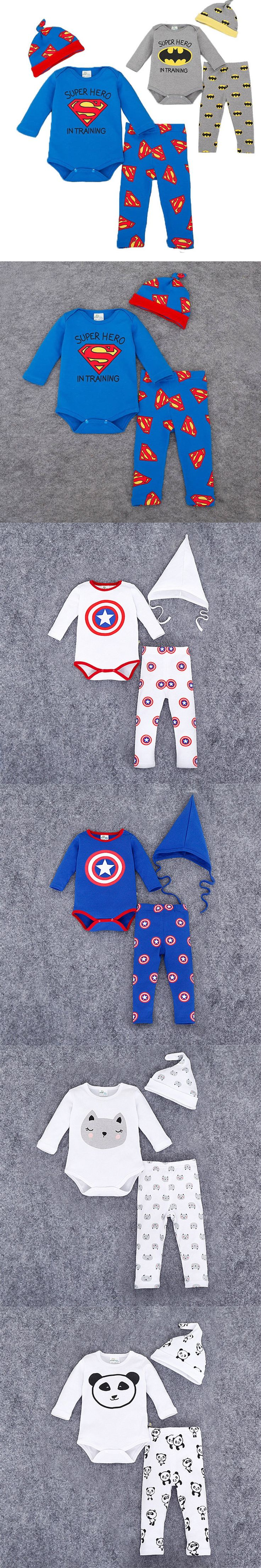 Brand Romper Set Fashion Cartoon Roupa De Bebe Bodysuit+Hat+Pant 3pcs Baby Boy Clothing Set Superman Batman Newborn Baby Clothes $17.63