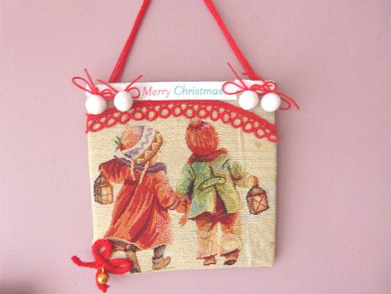 Children with lanterns Fabric collage by CrossStitchElizabeth