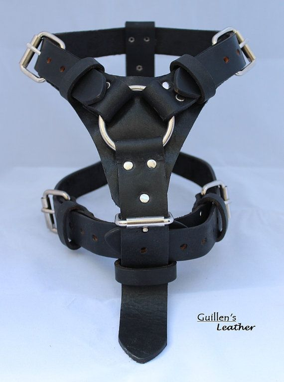 Black Large Leather Dog Harness with a Ring by guillensleather, $45.00