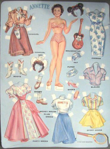 2 Vintage Early 1960s Walt Disney 3 D Paper Plastic Dolls Annette Susie | eBay