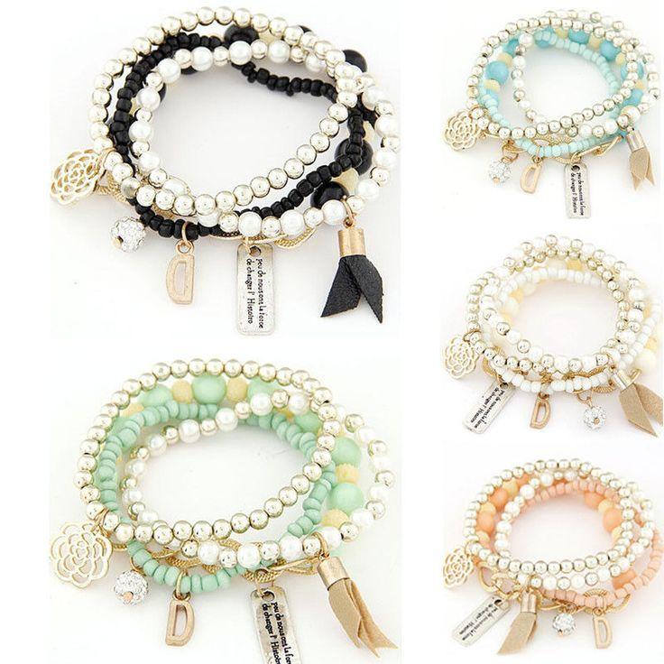 4PCS/Set Fashion Women Bracelet Multilayer Acrylic Beads Bangle Bracelets Beach…