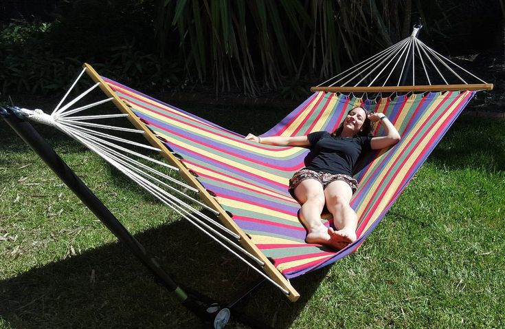 X Large Free Standing Hammock: Bright Multi Coloured Canvas Hammock With Adjustable Stand - Heavenly Hammocks
