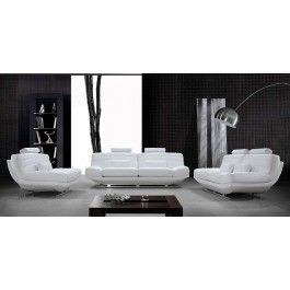 Viper Modern White Bonded Leather Sofa Set - 2199.0000
