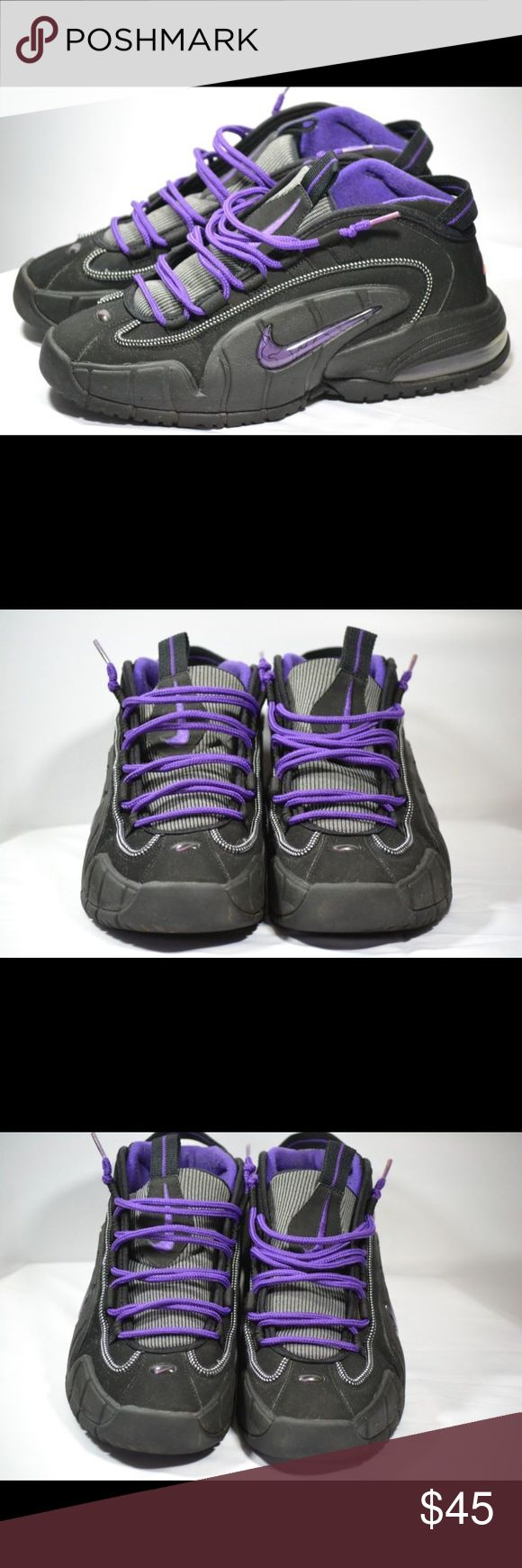 Nike Air Max Penny Phoenix Suns 311089-002 SZ 9 This is a great pair of Nike Air Max Penny Hardaway Phoenix Suns black and purple basketball shoes. They are in great used condition. They are showing some wear on and around the shoes laces. No Insoles.  • Men's SZ 9 Nike Shoes Sneakers
