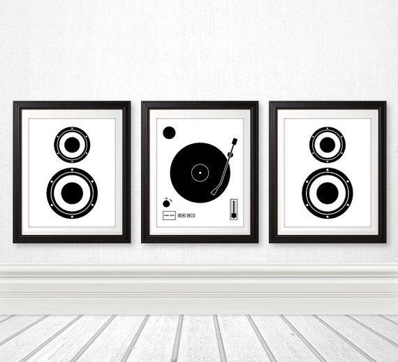 Vinyl Record Speaker Set Vinyl by BentonParkPrints,
