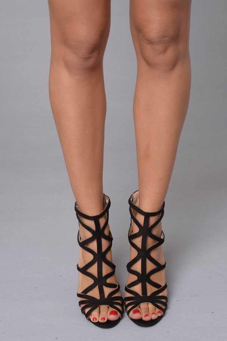 """- Available in Black - Strappy Suede Sandal - Zipper Back Closure - 4"""" Heel - Suede"""