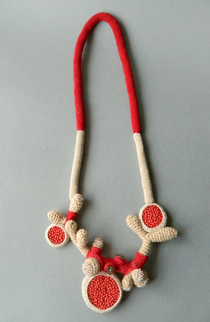 Necklace by Lidia Puica (cotton, fabric, beads)