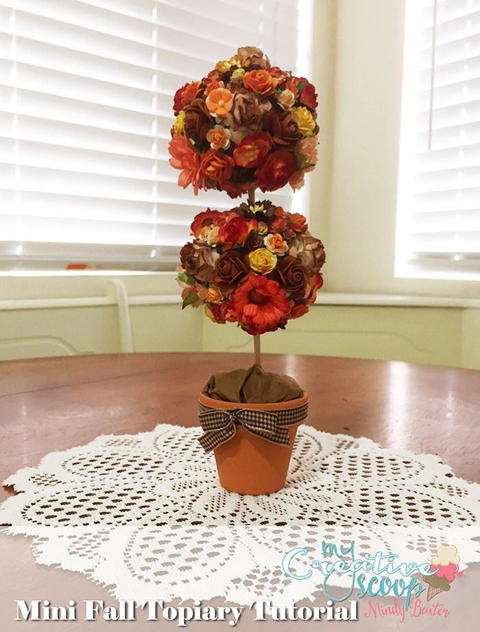 Mini Fall Topiary Tutorial by Mindy Baxter for Domestically-Speaking. This Topiary Tutorial has step by step instructions in written and photos.