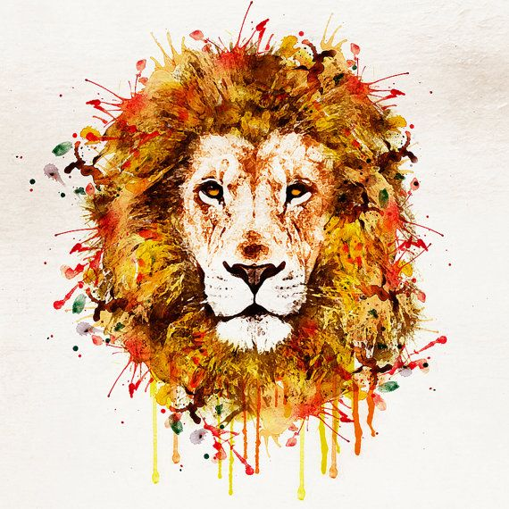 t te de lion portrait l aquarelle art mural aquarelle animaux art art illustration imprimer la. Black Bedroom Furniture Sets. Home Design Ideas