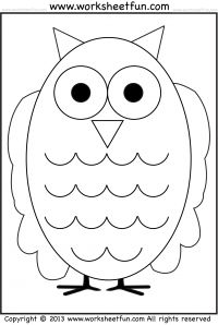 Owl Tracing And Coloring 4 Halloween Worksheets