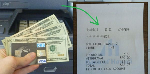 DKB Visa Card im Auslandseinsatz – hier Quittung von der Bargeldabhebung auf Hawaii