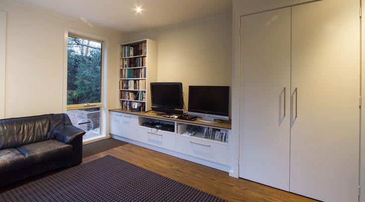 Modern TV unit storage for the gamer.  www.thekitchendesigncentre.com.au @thekitchen_designcentre
