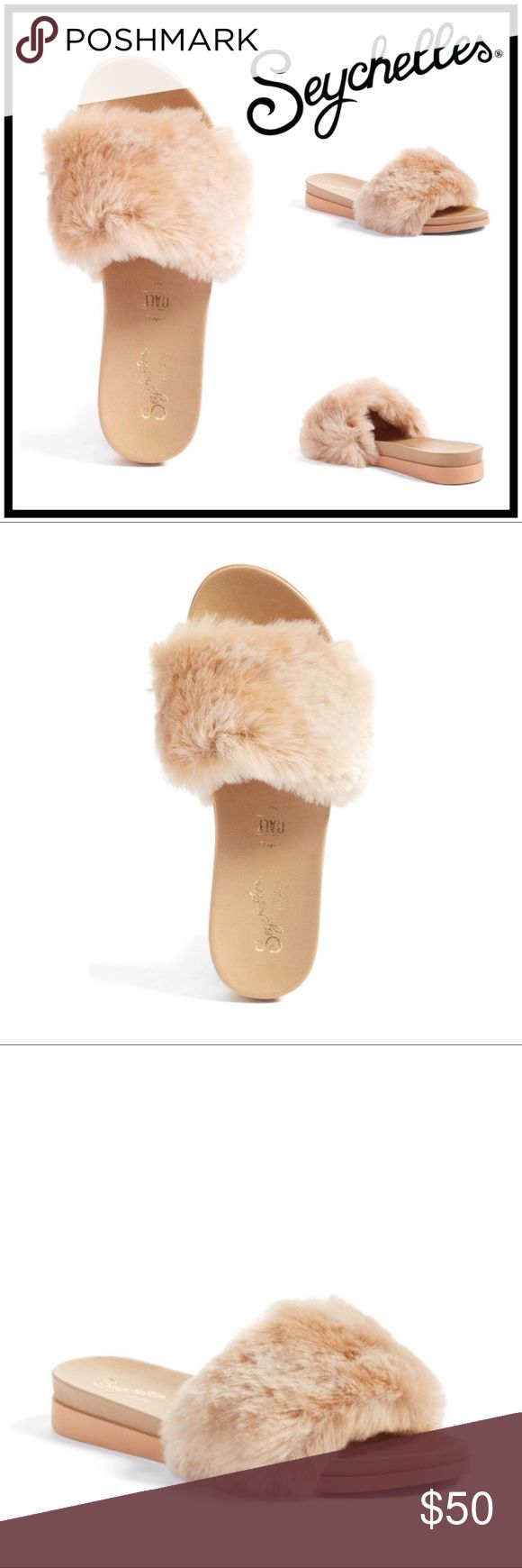 """Seychelles Beyond Reason Faux Fur Slide Sandal Seychelles Beyond Reason Faux Fur Slide Sandal Color: Blush  Fluffy faux fur blankets the strap of a chic, casual slide sandal crafted in Italy.    Sizing: True to size.   - Open toe - Faux fur vamp - Slip-on style - Cushioned insole - Wedge heel - Approx. 1.25"""" heel  - Made in Italy   Materials Synthetic and faux fur (polyester) upper, manmade sole Seychelles Shoes Sandals"""