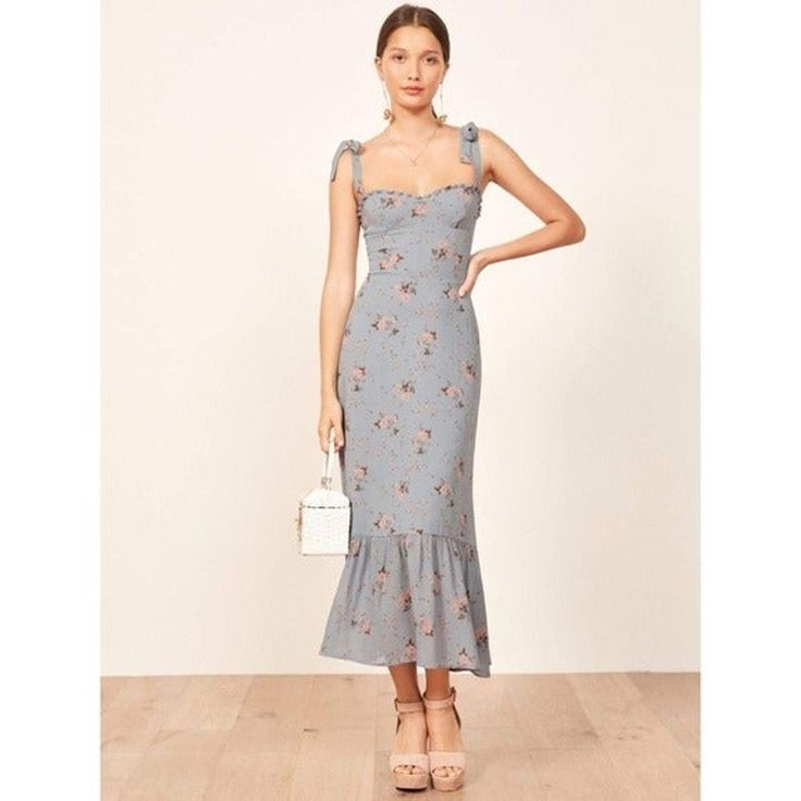 Reformation nikita blue floral dress nwt midi dress chic