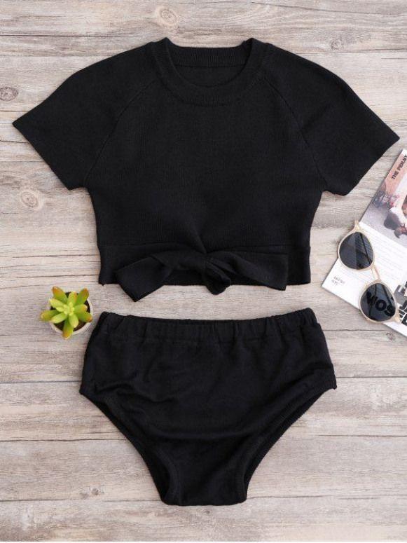 Parte superiore e parte inferiore del bikini lavorate a maglia – BLACK ONE SIZE Mobile # pantaloni da donna #wom …