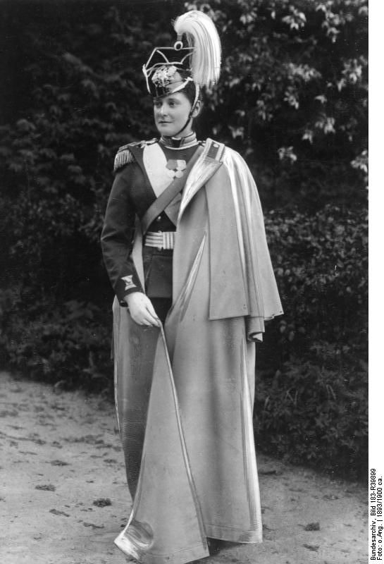 Imperatritsa Alexandra Feodorovna (Alix of Hesse and by Rhine) wearing the uniform of Colonel of the Life Guard Uhlan (Lancer) Regiment that bore her name. 1903