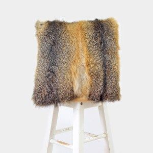 Recycled Fox fur and leather cushion, Ecogriffe