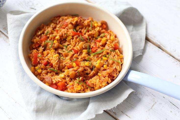 Snel rijstgerecht witte boontjes en spek of ham