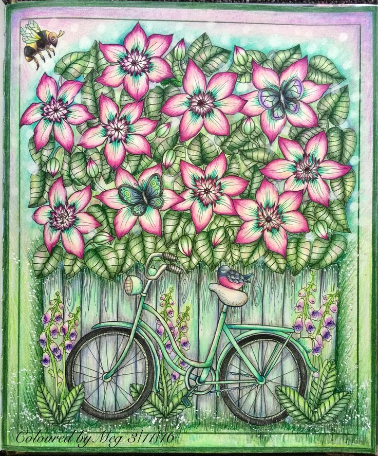 A Garden Bicycle From Blomstermandala By Mariatrolle Finally Start My Adventure With Staedler Triplus Mandala ColoringColoring BooksAdult