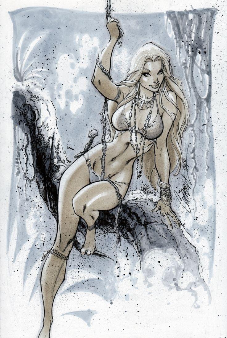 More Grey Area Sketch Book - Cover - Jungle Girl - J. Scott Campbell Comic Art