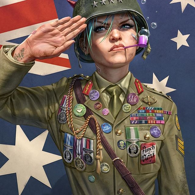 Well it seems I can share this sooner than expected (and coincidentally on Australia Day too). My cover for World War Tank Girl #3. #tankgirl #punchanazi #comics #comicbook #cover #comic #coverart #woman #girl #soldier #salute #badge #helmet #flag #australia #uniform #bubbles #art #newart #illustration #badges #medals #war #worldwar2 #australiaday #aussie